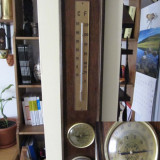 Metal/Fonta - Barometru+ termometru+ higrometru belgian, lemn si alama, h=57 cm
