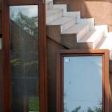 Fereastra si usa de balcon cu geam termopan din lemn esenta meranti