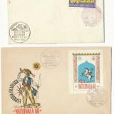 RFL 1966 Expozitia Filatelica Nationala - 2 plicuri cu vignete diferite
