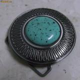 Catarama argintiu inchis cu cabochon turcoaz