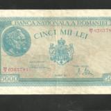 BANCNOTA 5.000 LEI - 21 august 1945 ( serie 0365785) VF