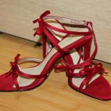 Sandale elegante rosii NOI 36 - Sandale dama, Marime: 35.5, Greige