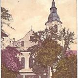 Carte postala, Dej-Des, Biserica romano-catolica, aprox 1915, circulata cu timbre romanesti 1923