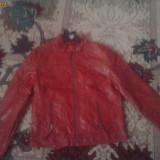 Geaca de piele rosie stare material buna - Geaca dama La Perla, Greige