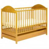 Patut lemn pentru bebelusi, 120x60cm - Patut Copii Din Lemn Cu Sertar EWELINA II Natur