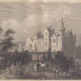Gravura - Peisaj cu Citadelle din Agra - sec. XIX - Pictor roman, Peisaje, Realism