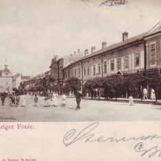 Romania, Sighetul Marmatiei, carte postala circulata 1900: Centru, animat - Carte Postala Maramures pana la 1904, Fotografie, Sighetu Marmatiei