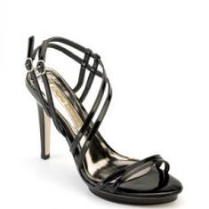 SUBLIME ! Sandale negre, lac, barete fine BUFFALO (8505-380 PATENT) - Sandale dama Buffalo, Marime: 36, 39, 40, 41, Culoare: Negru, Piele naturala