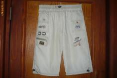 Haine Copii 10 - 12 ani - Pantaloni baieti, de vara, trei-sferturi, crem/bej deschis, NOI