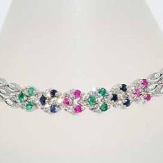 Superba bratara aur alb 14K diamante, smaralde, rubine si safire naturale 13.15gr, 14 carate, Femei