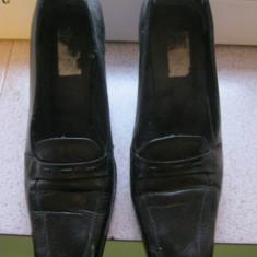 Pantofi cu toc dreptunghiular, din piele, de dama/femei, marimea 36, REDUSI ACUM! - Pantofi dama, Culoare: Negru, Marime: 35.5, Fuchsia