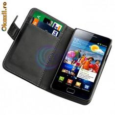 Husa Samsung Galaxy s2 sII i9100 + folie + stylus, Negru, Piele Ecologica, Cu clapeta