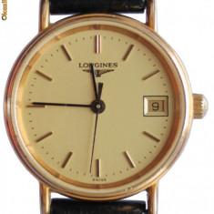 Longines - Quartz Dama- Original + cutie originala - Ceas dama Longines, Elegant, Placat cu aur, Piele, Data