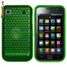 Husa protectie verde samsung galaxy s plus i9000 gel silicon case cover + folie ecran