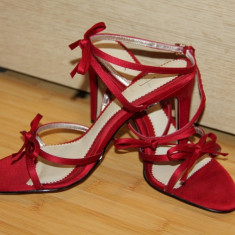Sandale dama, Marime: 35.5, Greige - Sandale elegante rosii NOI 36
