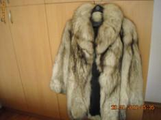 Palton dama, Antracit, Blana - Haina blana vulpe argintie