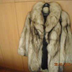 Haina blana vulpe argintie - Palton dama, Antracit