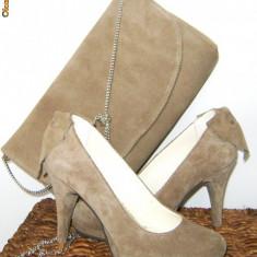 Pantofi dama, 35 1/3, Argintiu - Pantofi nude marime 35-36, piele intoarsa, toc 8 cm