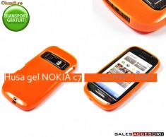 HUSA NOKIA C7 SILICON GEL TPU BBLE PORTOCALIE - TRANSPORT GRATUIT, Nokia C7-00, Portocaliu