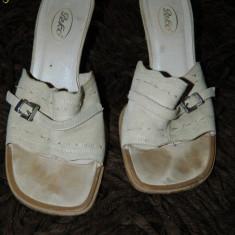 Saboti/sandale fara calcai pentru dama, marimea 36, piele intoarsa, LICHIDARE DE STOC! - Saboti dama, Culoare: Crem