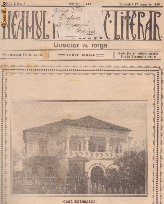 Revista Neamul Romanesc Literar (serie noua,An I,nr.8/1926) foto mare