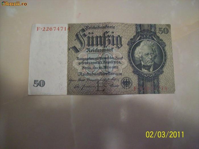 Bancnota 50 marci 1924 foto mare