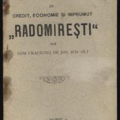 Carte Editie princeps - Statutele Bancei Radomiresti, com. Craciunei de Jos, jud. Olt, 1906