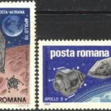 Timbre Romania, Spatiu - Romania 1969 - COSMOS, APOLLO 9 SI 10, serie nestampilata G34