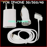 Incarcator 3 in 1 priza + auto + cablu USB Apple iPhone 3G 3GS 4 4S iPod + cadou o folie iPhone