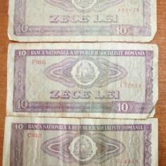 Bancnote Romanesti - Bancnote 10 lei 1966 ( 3 bancnote )