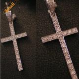 Pandantiv aur, 18k - Cruciulita din aur alb 18k si diamante!