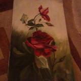 Tablou din perioada interbelica, motive florale, pictat pe panza in ulei