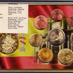 Spania 8 monede euro in cutie cu certificat+ medalie Madrid-Puerta de Alcala
