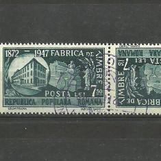 Romania 1948 - FABRICA DE TIMBRE, 7.5 lei PERECHE TETE-BECHE stampilata D153 - Timbre Romania, Stampilat