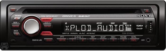 Внешний вид.  Тюнер.  Полное название: CD-ресивер Sony CDX-GT427UE.  Комплектация.