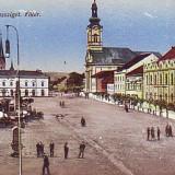 Romania, Sighetu Marmatiei, carte postala 1918, circulata 1940: Centru, animat, Fotografie