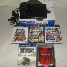 PlayStation 2 Sony - Vand PS2 MODAT + 5 JOCURI ORIGINALE
