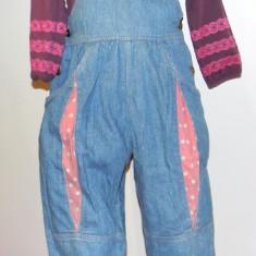 Haine Copii 4 - 6 ani, Salopete, 104 (4 ani, inaltime 99 - 104 cm), Roz - Salopeta blugi cu roz 4-5 ANI