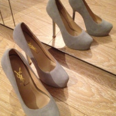 Pantofi YSL ( Yves Saint Laurent ) piele gri 37 - Pantof dama Yves Saint Laurent, Marime: 37.5