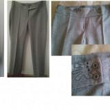 Costum dama - Sacou si pantalon de lana gri deschis cu broderie DEOSEBIT