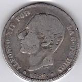 1.Spania 2 PESETAS 1882 argint 10 gr. 0.835, Alfonso XII, COTATIE RIDICATA