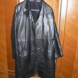 Palton din piele barbati - Palton barbati, Marime: 52, Culoare: Negru