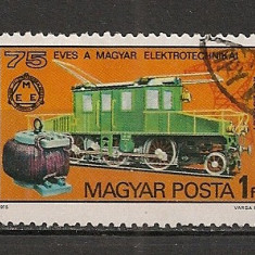 Timbre straine, Europa, Transporturi - Ungaria.1975 75 ani de electotehnica:Locomotiva electrica HE.293