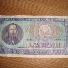 Bancnote Romanesti - Bancnota de colectie 100 lei vechi 1966