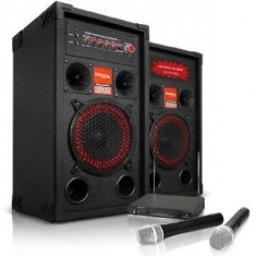 SISTEM KARAOKE COMPUS DIN BOXE ACTIVE/AMPLIFICATE, MP3 PLAYER STICK/CARD+2 MICROFOANE WIRELESS. - Echipament karaoke