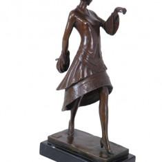 MISS PARIS- STATUETA DIN BRONZ PE SOCLU DIN MARMURA - sculptura reproducere, Portrete