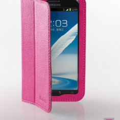 Husa Samsung Galaxy Note 2 N7100 Executive Piele Naturala by Yoobao Originala Pink - Husa Telefon Yoobao, Roz, Cu clapeta, Toc