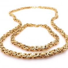 Set lant si bratara din inox Placat cu Aur LIVRARE GRATUITA - Set bijuterii placate cu aur
