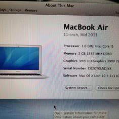 Vand MacBook Air 11, 3'' - Laptop Macbook Air Apple, 11 inches, Intel Core i5, 1501- 2000Mhz, 2 GB, Sub 80 GB