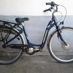 Bicicleta ALU electrica Hercules E-Bike 28'' - Bicicleta electrice, 19 inch, Numar viteze: 3, Aluminiu, Albastru